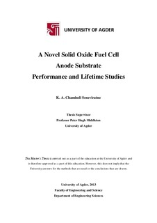 A Novel solid oxide fuel cell anode substrate : performance
