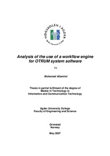 Analysis of the use of a workflow engine for OTRUM system