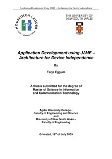 Application development using J2ME : architecture for device