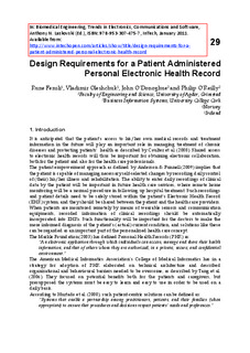 Design requirements for a patient administered personal electronic