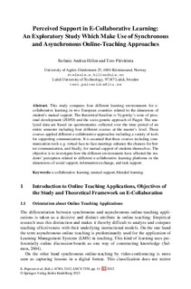 Perceived support in e-collaborative learning: An
